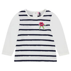 Camiseta de manga larga con rayas de festón y flor bordada
