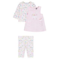 Conjunto de camiseta, vestido y leggings con estampado de flores