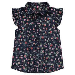 Júnior - Camisa de manga corta con volantes y flores all over