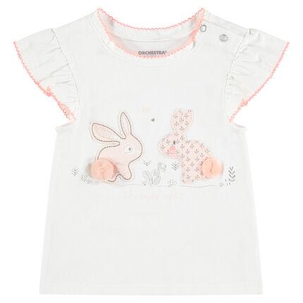 Camiseta de punto de manga corta con parches de conejos y borlas