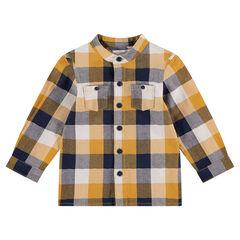 Camisa de manga larga de cuadros con bolsillos en los codos