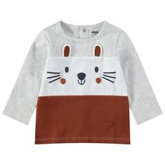 Camiseta de manga larga tricolor de punto con detalles estampados