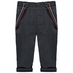 Pantalon rayé à bretelles amovibles