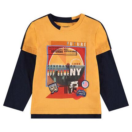 Camiseta de manga larga con efecto 2 en 1 bicolor y dibujo estampado