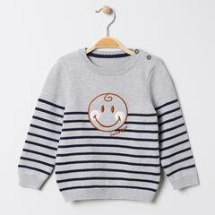 Pull en tricot rayé avec Smiley Baby brodé pour bébé garçon , Orchestra