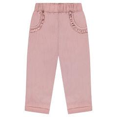 Pantalón de punto de fantasía con bolsillos con volantes