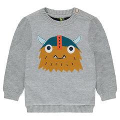 Jersey de punto tricotado con motivo de vikingo y espalda en contraste