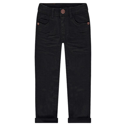 Pantalón slim de sarga con efecto arrugado