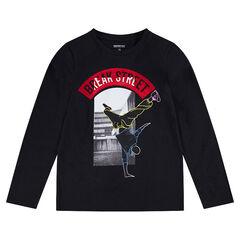 Júnior - Camiseta de manga larga de punto con bailarín estampado