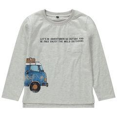 Camiseta de manga larga de punto con estampado de coche de efecto arrugado