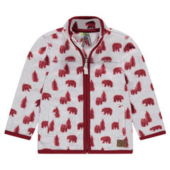 Chaqueta de micropolar con pinos y osos all over