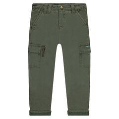 Pantalón liso con forro de punto y bolsillos