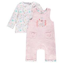 Conjunto para recién nacido de camiseta y peto bordado