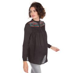 Camisa de premamá con juego de pliegues y bordados de colores