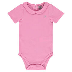 Body cuello Claudine manga corta de color uniforme