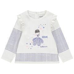 Camiseta de manga larga de algodón con bailarina bordada y rayas