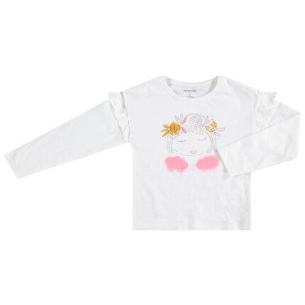 Camiseta de manga larga de punto con niña estampada