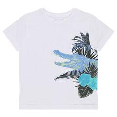 Camiseta de manga corta de punto liso con estampado de fantasía