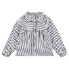 Camisa de manga larga de algodón con rayas all over