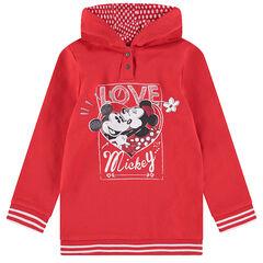 Sudadera con capucha larga de felpa con estampado brillante de Mickey y Minnie de ©Disney