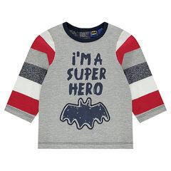 Camiseta de manga larga con mensaje y perfil de Batman estampados