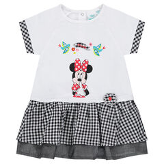 Vestido efecto 2 en 1 Disney con estampado de Minnie y toques de Vichy