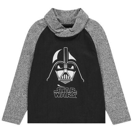 T-shirt manches longues bicolore print Dark Vador