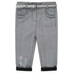 Pantalón de cuadros con forro de punto y cinturón plateado extraíble