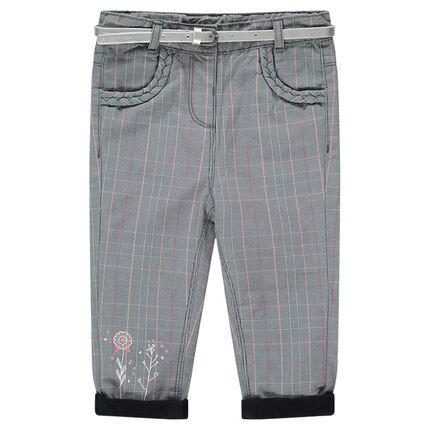 8111df562 Pantalón de cuadros con forro de punto y cinturón plateado extraíble ...