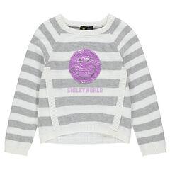 Jersey de rayas con ©Smiley de lentejuelas mágicas