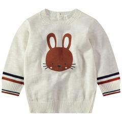 Jersey de punto de color crudo con conejo estampado y abertura en la espalda