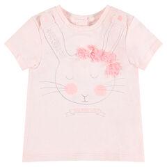 Camiseta de manga corta de punto con conejo estampado y flores de relieve