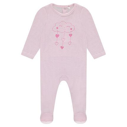 Pijama de terciopelo con nube y corazones estampados