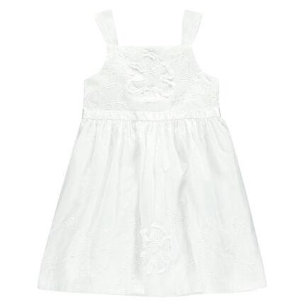 Vestido de gasa de algodón y de tul de color blanco