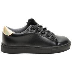 Zapatillas bajas con efecto cuero y aplicaciones doradas por detrás y borreguillo