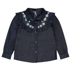 Júnior - Camisa de tencel con volantes y bordados