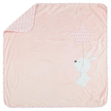 Manta de terciopelo y tejido de punto con conejito y estrella con bordado