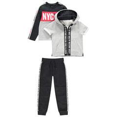 Júnior - Chándal de felpa con sudadera, chaqueta de manga corta y pantalón con bandas