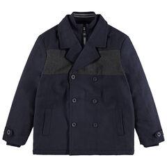 Júnior - Parka de tela de lana con doble cuello