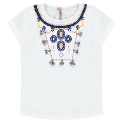 Camiseta de manga corta con bordados y borlas