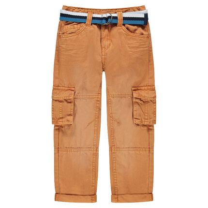Pantalón cargo de sarga teñida con cinturón de rayas