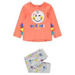 Pijama de punto con estampado de ©Smiley y aplicaciones de relieve
