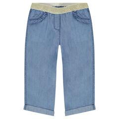 Pantalón corto de Tencel con cintura elástica brillante