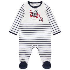 Pijama de punto con rayas que contrastan y estampado de Mickey Disney
