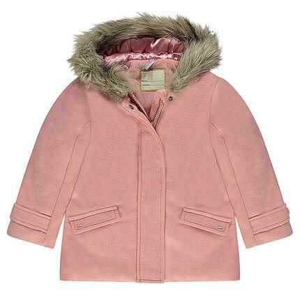Abrigo de efecto paño de lana con forro de borreguito