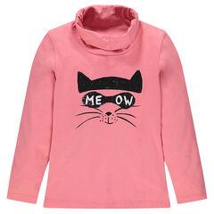 Camiseta interior cuello vuelto con estampado de gato