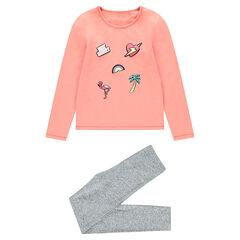 Pijama de punto bicolor con estampado de fantasía