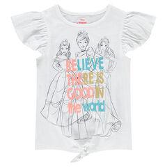 Camiseta de mangas con volantes y princesas ©Disney estampadas