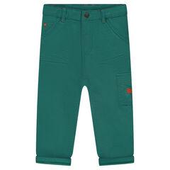 Pantalón de algodón de fantasía con bolsillos de solapa