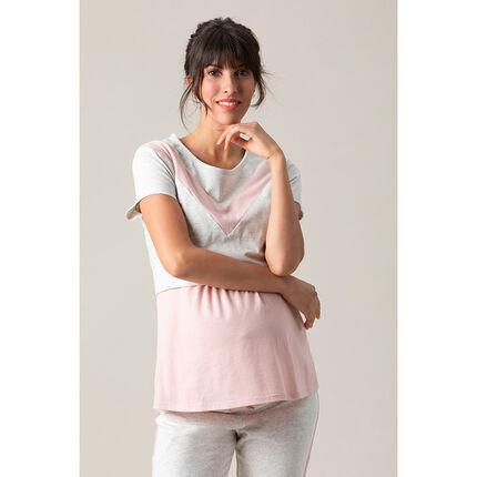 Camiseta de manga corta de punto con cortes que contrastan
